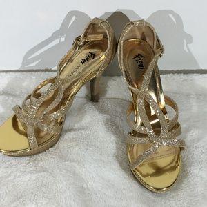 Shoes - Fioni Night Gold & Glitter Platform Heels - 8.5